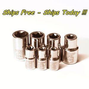Craftsman 7pc External E Torx Socket Set 1/4 3/8 E6 E7 E8 E10 E12 E14 E16 Female