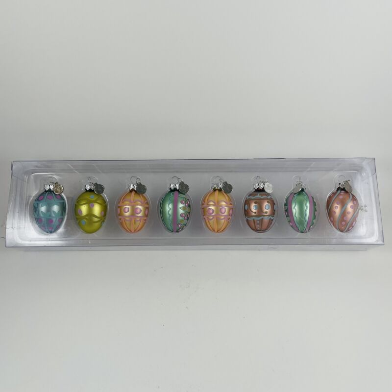 DEPT 56 Retired Set of 8 Mini Glass Easter Ornaments