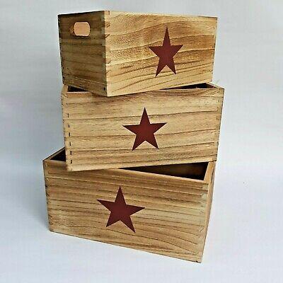 Cajas contenedoras estrella madera decoracion vintage 3 unidades - Orden en casa
