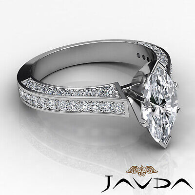 Micro Pave Set Marquise Diamond Engagement Ring GIA Certified I Color SI1 2 Ct 2