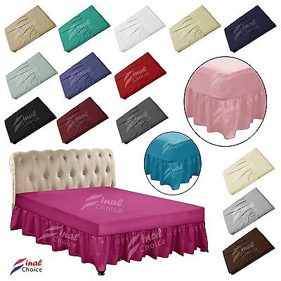 Plain Percale Quality VALANCE Sheet 100% Polyester Single Double King All Sizes
