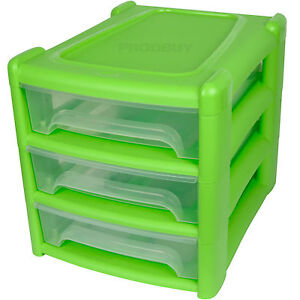 Lime Green 3 Drawer Storage Tower Desk Organiser Tidy A4