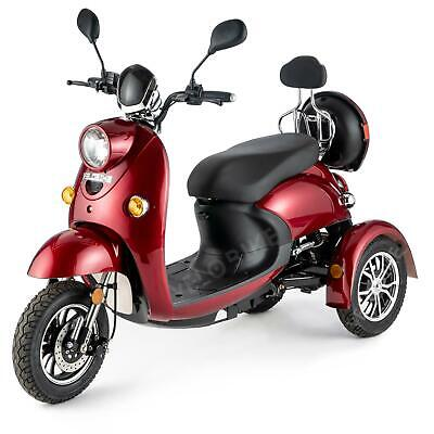 3 Wheeled Retro ELECTRIC MOBILITY SCOOTER 650W VELECO ZT63 RED