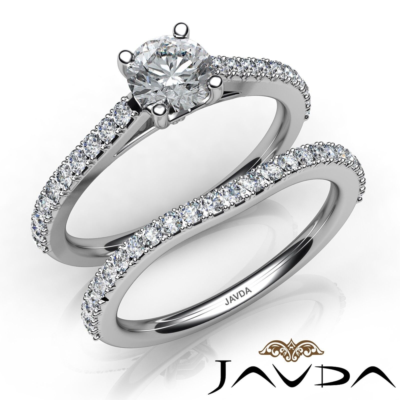 1.4ctw Prong Setting Bridal Set Round Diamond Engagement Ring GIA E-VS2 W Gold
