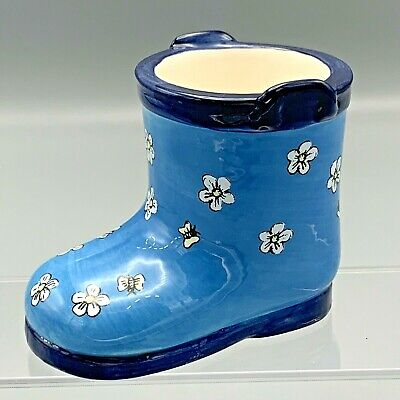 Blue Shiny Garden Boot Yankee Candle Votive Holder Succelents Butterflies Flower