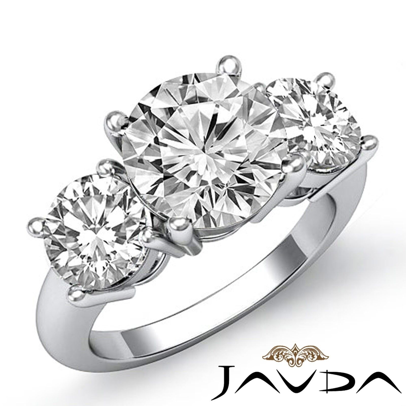 3.5ctw Classic 3 Stone Prong set Round Diamond Engagement Ring GIA I-VVS2 W Gold