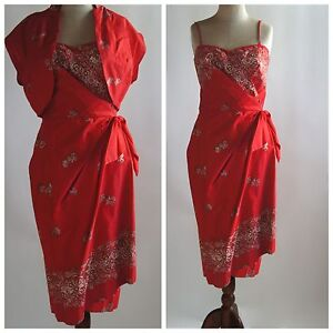 50's Vintage Red Gold Sarong Dress Hawaiian Sport Bolero Jacket TIKI Rockabilly