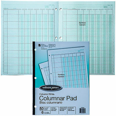 Wilson Jones G7206a Columnar Pad 6 Column Greent Tint Column Write 11 X 8-12