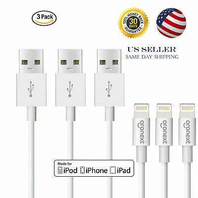 3 Pack USB Cable For Apple iPhone 5 6 7 8 Plus X 11 Lightning Charger