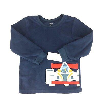 Carters 3T Fleece Sweater Race Car Blue NWT