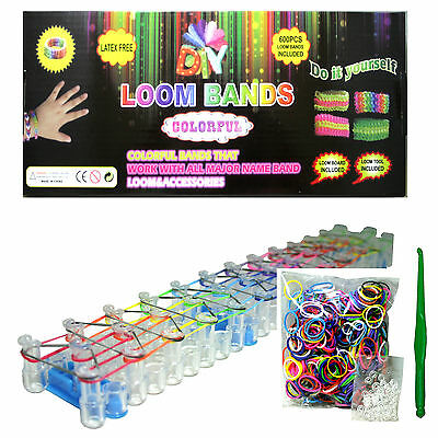 DIY LOOM BANDS BRACELET MAKING KIT INCLUDES 600 RAINBOW RUBBER BANDS, LOOM CLIPS