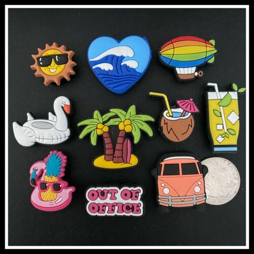 10 Shoe Charms for Crocs Beach Vacation Float VW Van Piña Colada Palm Tree Sun