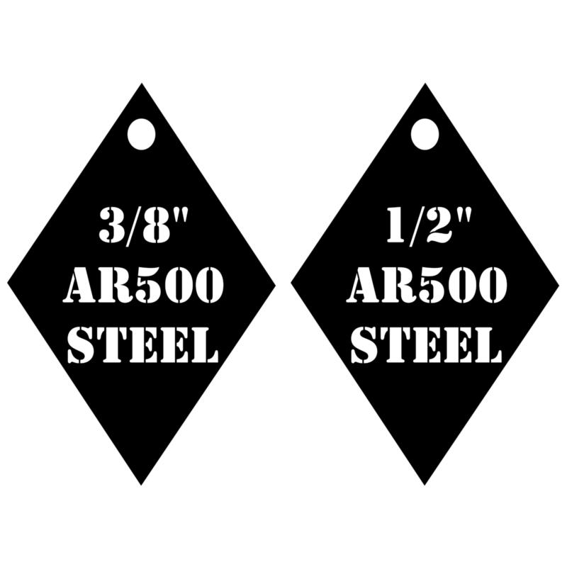 """Set of 3 AR500 Steel Target Half Gong 1//2/"""" x 12/"""" Painted Black Shooting Practice"""