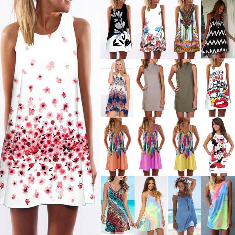 Damen Ärmellos Minikleid Sommerkleid Strandkleid Party Longshirt Blouse Kleider