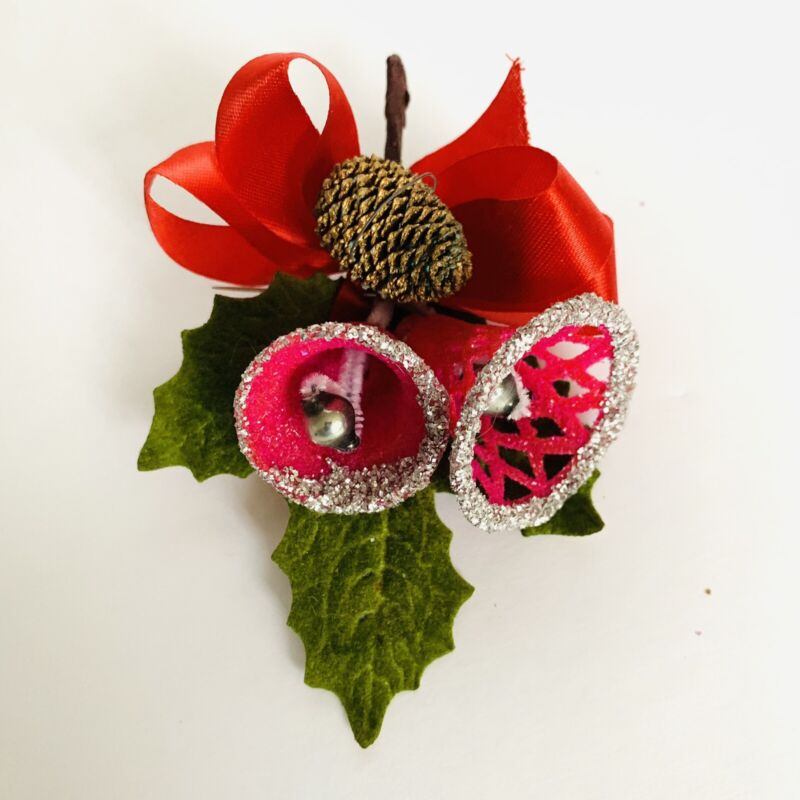 Vintage Christmas Corsage Red Bells Glittered White, Holly, Pinecone Holiday