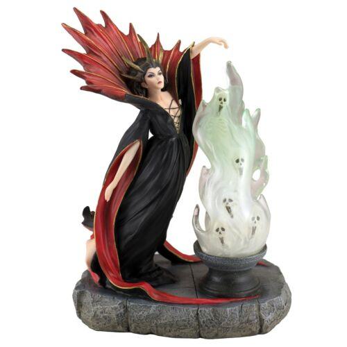 "Witch With Cauldron Of Spirits Skulls Figurine Statue LED Light 9.25"" High New"
