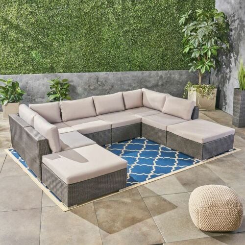 Salome Outdoor 6 Seater Wicker Sofa Set with Aluminum Frame and Cushions, Grey a Home & Garden