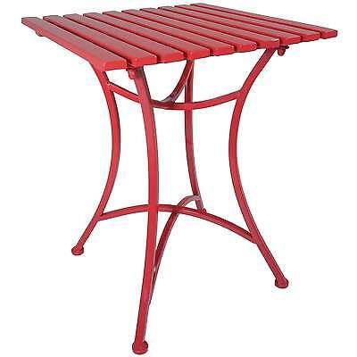 Titan Outdoor Antique Red Metal End Table Porch Patio Garden Deck Decor Side