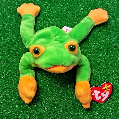 58bd30e282a MWMT 1997 Smoochy The Frog Ty Beanie Baby Retired Amphibian Plush Toy Ships  FREE