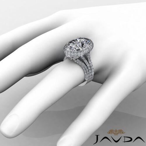 3 Row Shank Bezel Oval Cut Diamond Engagement Double Prong Ring GIA I VS2 3.65Ct 3