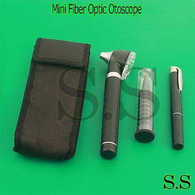 Black Led Light Mini Fiber Optic Pocket Ent Medical Otoscope Free Penlight
