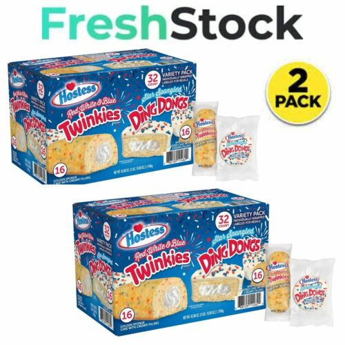 2 pk Hostess Red, White,& Blue Twinkies and Star Spangled DingDongs Variety Pack