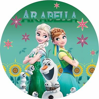 Frozen Themed Birthday Cake (Frozen Fever Theme Elsa onto Edible REAL Icing Birthday Cake Topper A4 or)