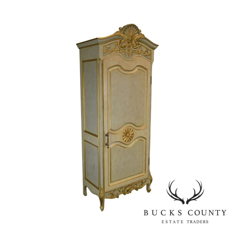 French Rococo Style Gilt Accent Custom Faux Painted Single Door Armoire