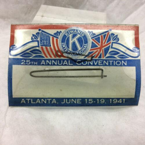 Vintage Celluloid 1941 Kiwanis International Convention Name Tag Plastic Atlanta