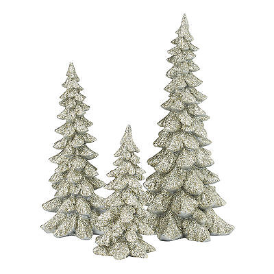 Dept 56 Silver Holiday Resin Trees Set of 3 4047946 NEW Christmas Village 2015
