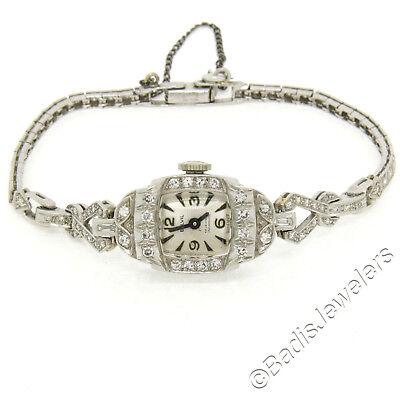 Antique Art Deco Platinum 1.16ctw Diamond Bracelet Swiss Belvil 17j Wrist Watch