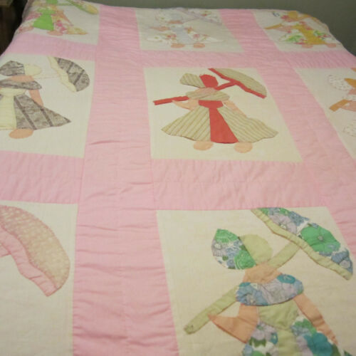 """Vintage Sunbonnet Sue Parasol Quilt 65"""" x 83"""" Feedsack fabric? hand quilted"""