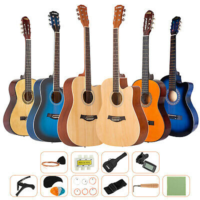 Beginner Acoustic Guitar Starter Musical Instrument Kit w/Case, Strap, Tuner