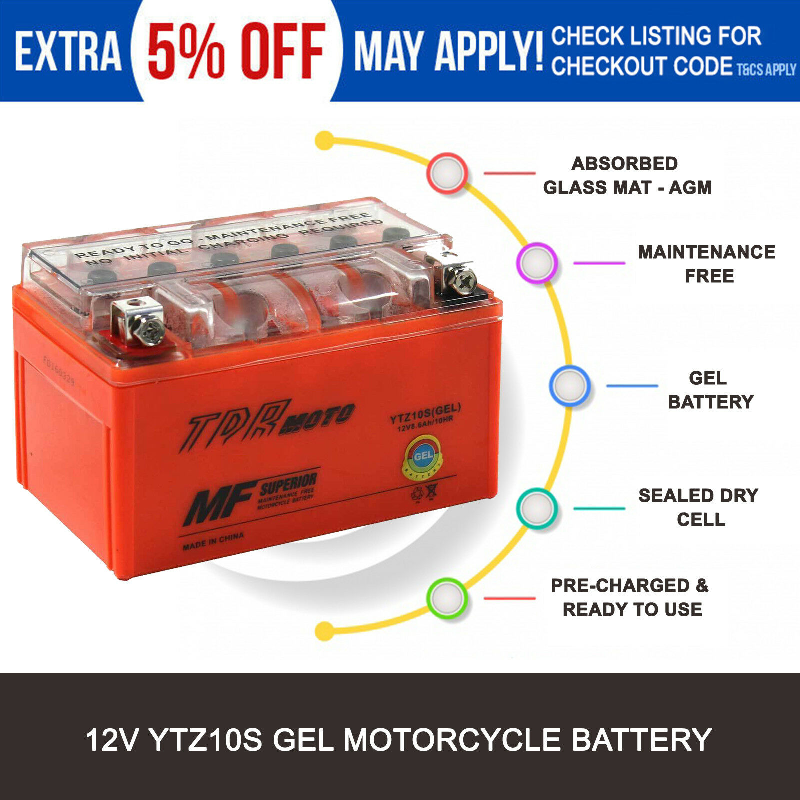 Ytz10s Gel Battery Honda Cbr1000ra Cbr1000rr Cbr600rr Vt600c Cd