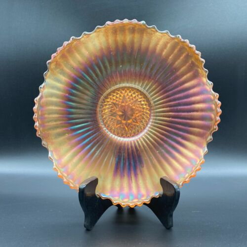 """Imperial Marigold Iridescent Carnival Glass 8"""" Scalloped Candy Dish Ruffled Edge"""