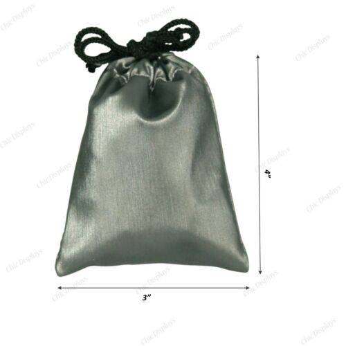 """144-Pc Drawstring Pouch Grey Gift Bags gift bag Faux Leather Jewelry Pouch 3""""x4"""""""