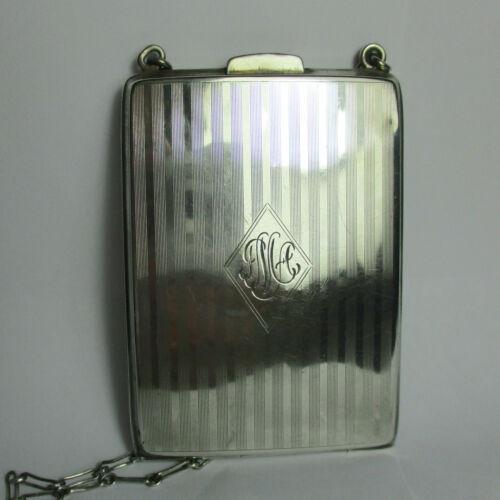 Antique ART DECO Sterling Silver Cigarette Case, Compact, Change Purse on Chain