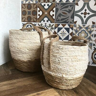 Round Wicker Floor Storage Nesting Basket Vintage Style Hamper Rustic Log - Wicker Storage Baskets