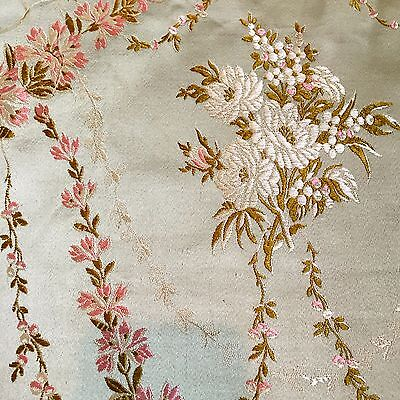 Antique Vintage FRENCH SILK Damask Poppy Brocade Fabric~Pillows Dolls