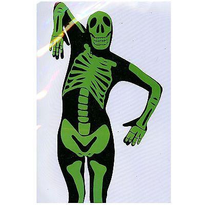 Fantastic Suit Skelett schwarz/grün 2nd Skin Overall Ganzkörperanzug - Grün Skin Suit Kostüm