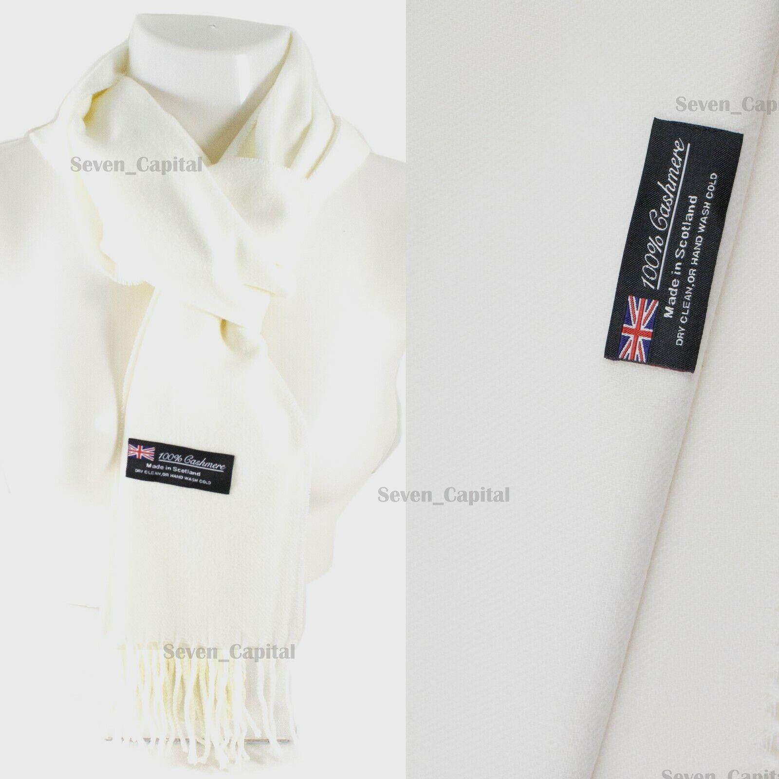 Mens Womens Winter Warm SCOTLAND Made 100% CASHMERE Scarf Scarves Plaid Wool 38. Plain: White