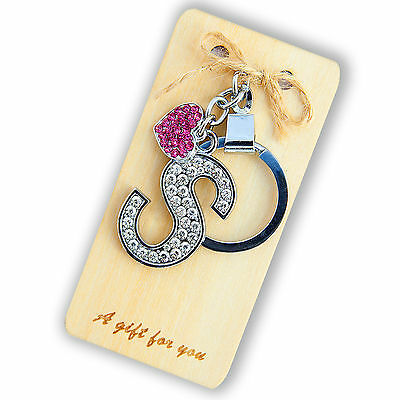 Crystal Alphabet (Diamante Crystal Alphabet Letter & Pink Heart Key Ring On Wooden Gift Card A-Z)