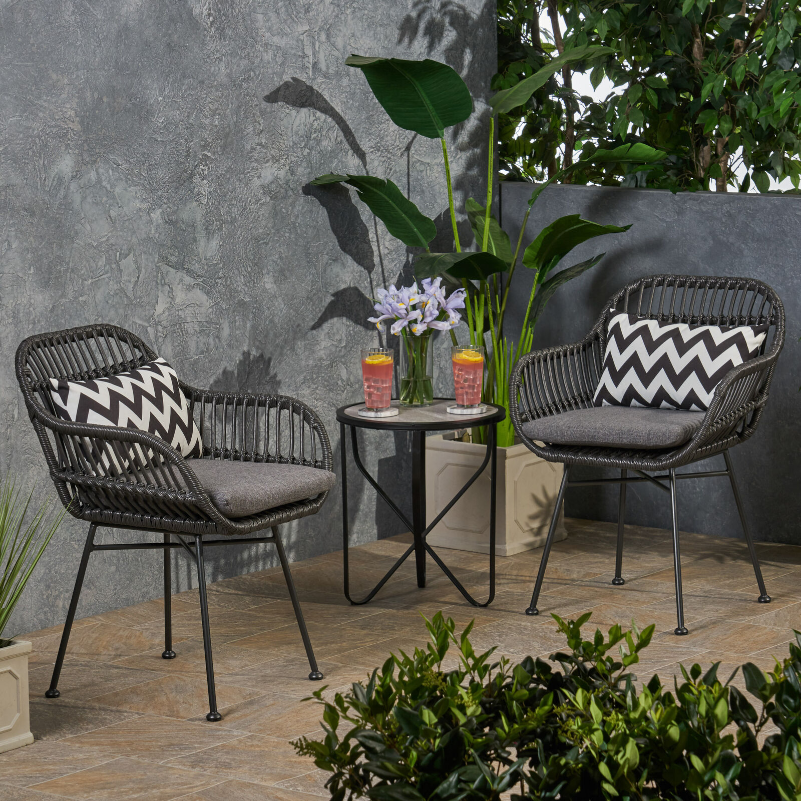 Rodney Outdoor Woven Faux Rattan Chairs with Cushions (Set of 2) Home & Garden