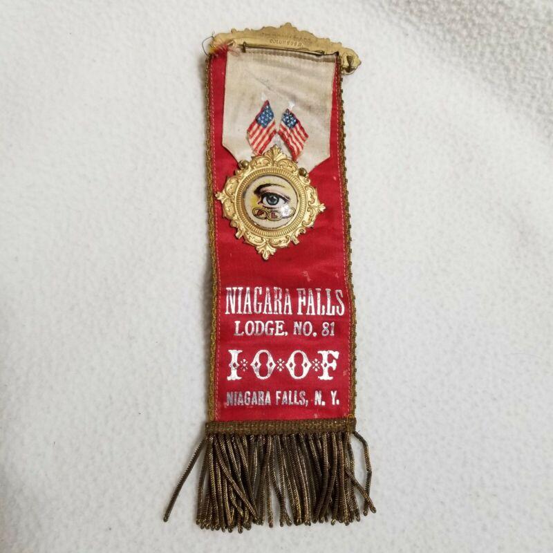 Antique Independent Order Odd Fellows All Seeing Eye Pin Ribbon Niagara Falls 81