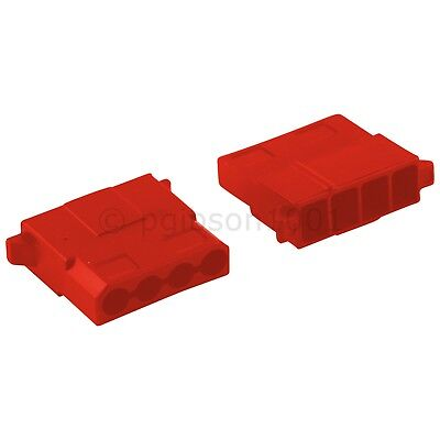 Pack of 2 Female 4 Pin Red Molex Connectors With Pins - PSU Modding