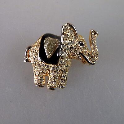 Neugablonz Kleine prächtige Brosche Elefant Swarovski Elements (49231)