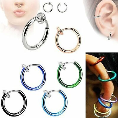 2x Clip-On Spring Action Non-Piercing Fake Septum Lip Cartilage Nose Tragus Ring Body Jewelry