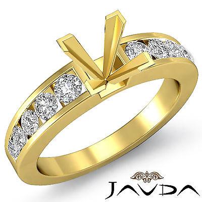 - Diamond Engagement Princess Semi Mount Ring Channel Set14k Yellow Gold 0.7 Ct.