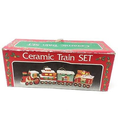 Vintage Handcrafted Ceramic Train Ornaments Set of 4 Christmas