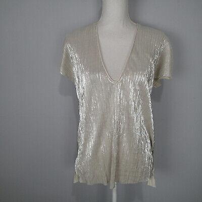 Zara Metallic Silver/Off White Pleat Top - Size m v neck blouse shirt short slv